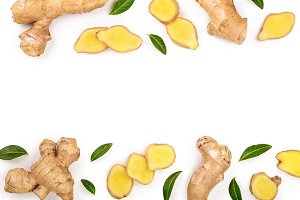 fresh Ginger root and slice isolated