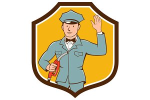 Gas Jockey Attendant Waving Shield C