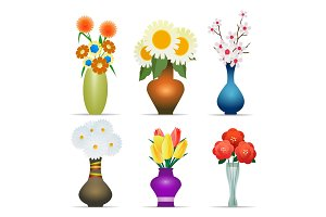 Vases with flowers set