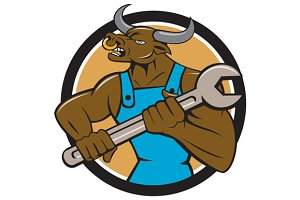 Mechanic Minotaur Bull Spanner Circl
