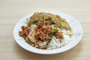 Thai food Rice Stir fried red curry