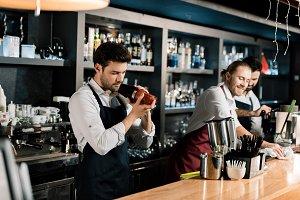 Handsome barista during work