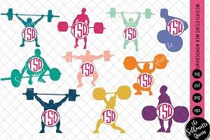 Weightlifting Svg Monogram