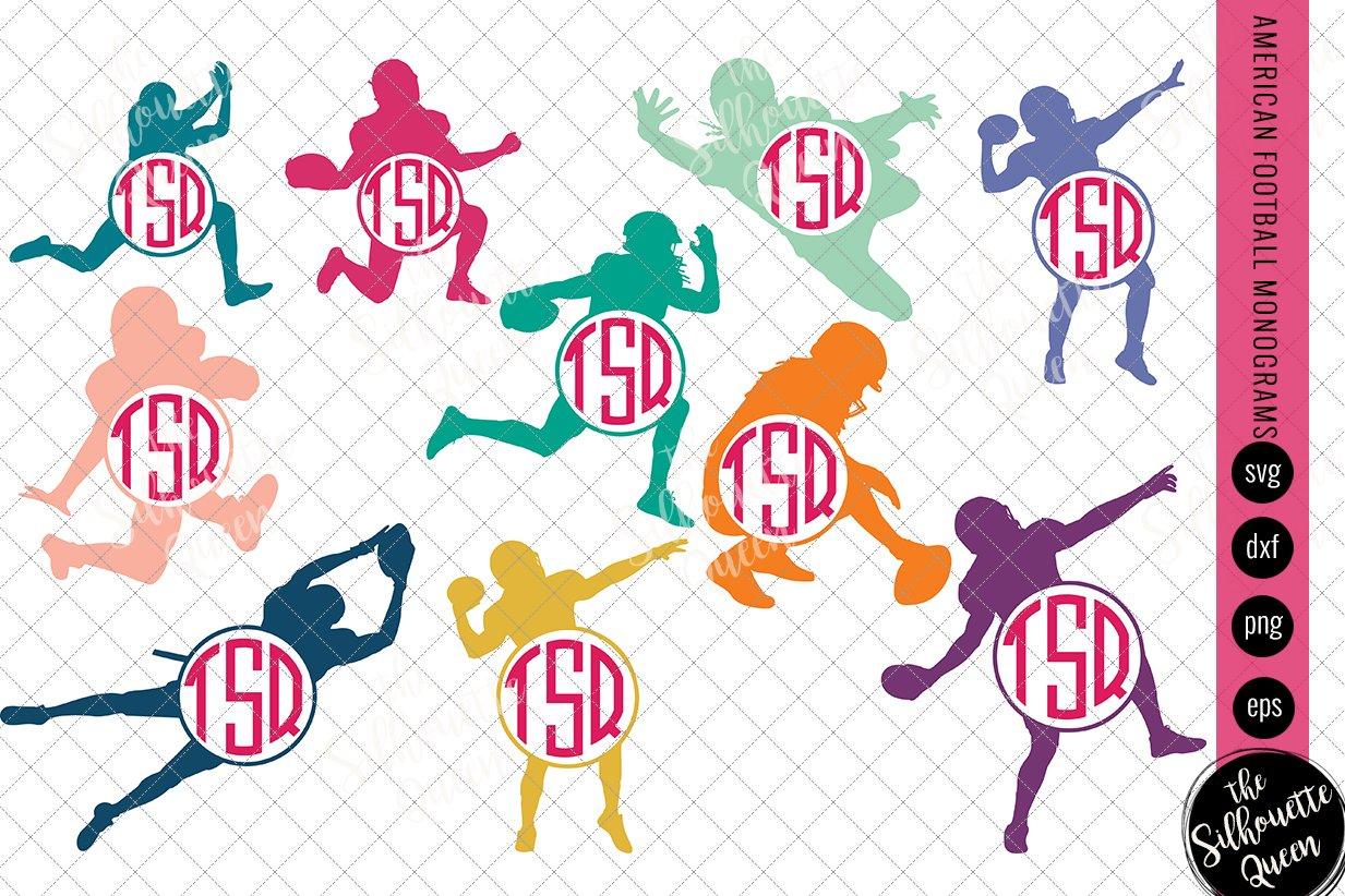 Football Svg Monogram Circle Frames Pre Designed Illustrator Graphics Creative Market