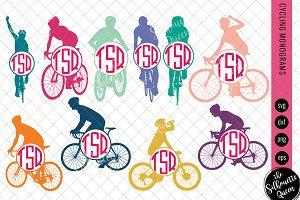 Cycling Svg Monogram, Circle Frames