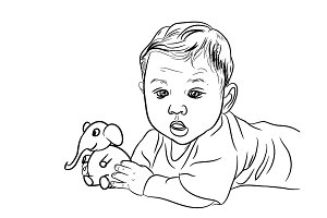 Drawing of male baby