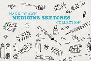 Hand drawn medicine sketches set