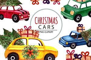 watercolor christmas cars, clipart