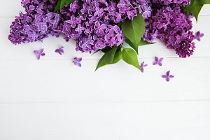 Lilac flowers on a table