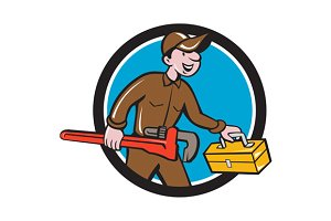 Plumber Carrying Monkey Wrench Toolb