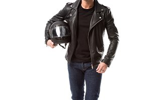 confident man in leather jacket and