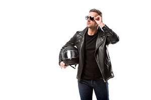 man in leather jacket and sunglasses