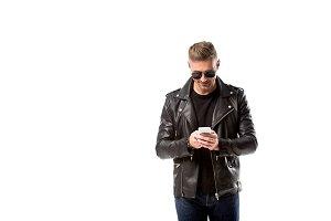 stylish adult man in leather jacket