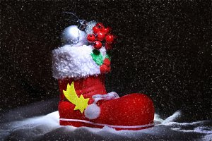 Red Santa's boot