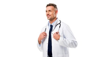 handsome doctor in white coat with s
