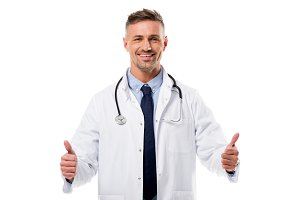 smiling doctor in white coat with st