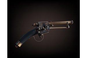 Old vintage gun on dark brown
