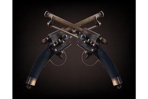 Cross old vintage gun on dark brown