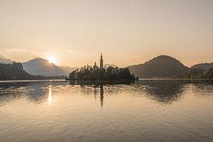 Sunrise on lake Bled
