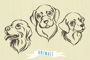 Set of hand-drawn dog's portraits