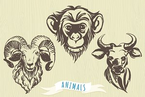 Set of hand-drawn animal's portraits