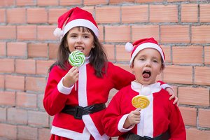 children celebrating christmas with
