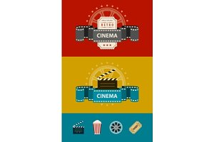 Retro cinematography banners with icons flat design