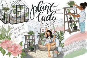 Plant Lady Clipart Graphic Design