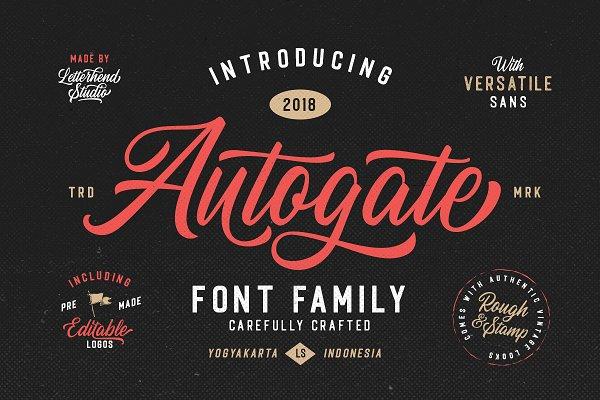 Script Fonts - Autogate - Font Duo (+BONUS)
