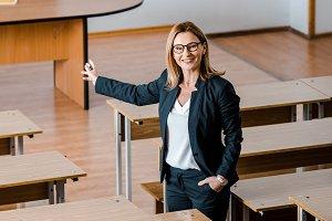 smiling female university professor