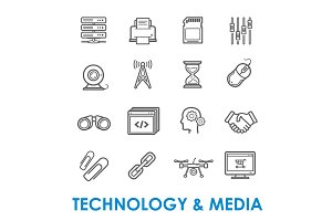 Technology and media thin line icons