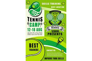 Tennis rackets and balls. Sport camp