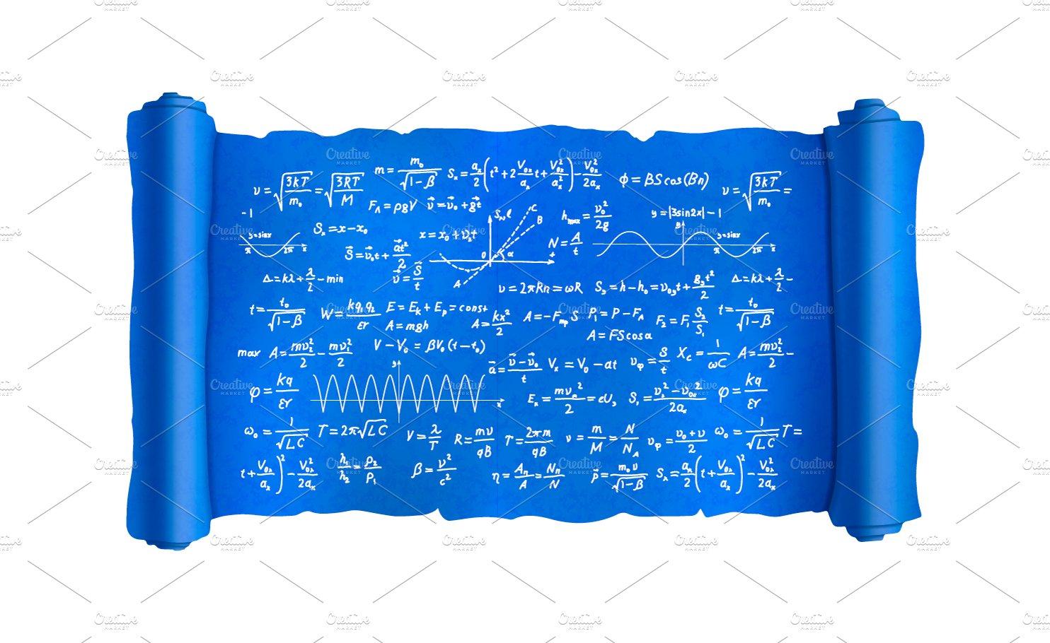 Blueprint with scientific formulas