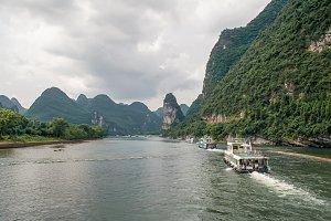 Karst mountains. Li river in China