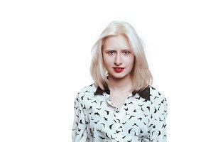 portrait blonde albino girl in studi