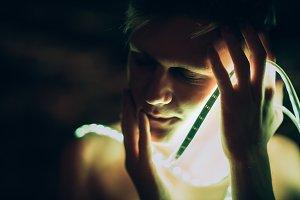 Portrait man Strip Light tape on dar