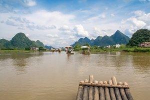 Traditional bamboo raft.Yulong River