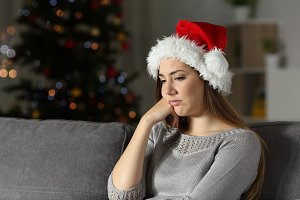 Frustrated girl in christmas time