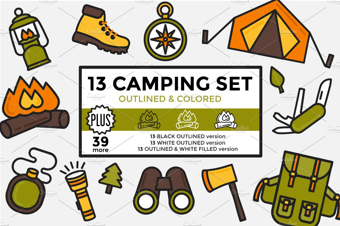 Camping Set Outlined & Colored ~ Icons ~ Creative Market