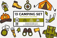Camping Set Outlined & Colored