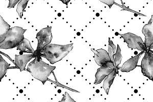 Orchid flower. Seamless pattern, fab