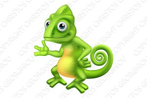 Chameleon Cartoon Lizard Character