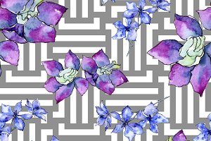 Purple orchid flower. Seamless patte