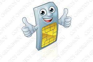 Mobile Phone Sim Card Mascot Cartoon