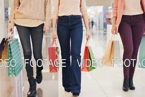 Low shot of ladies' legs walking in