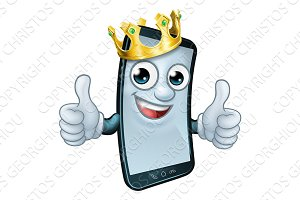 Mobile Phone King Crown Thumbs Up