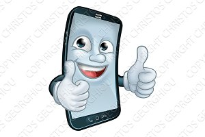 Mobile Phone Thumbs Up Cartoon