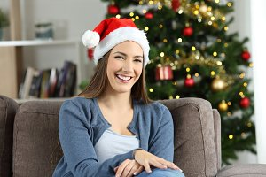 Woman posing at home on christmas