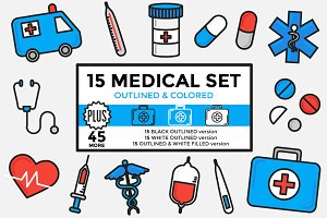 Medical Set Outlined & Colored