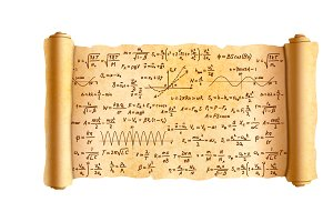 Papyrus scroll with math formulas
